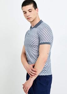 ADZE TOPTAN - Toptan Erkek Gri Baskılı Polo Yaka T-shirt