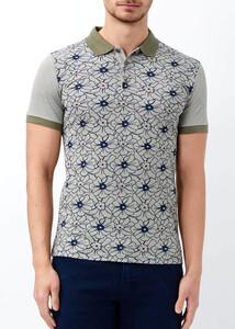 Toptan Erkek Haki Çiçek Desenli Polo Yaka Tişört