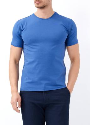 ADZE TOPTAN - Toptan Erkek İndigo Bisiklet Yaka Likralı T-shirt