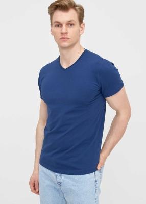 ADZE TOPTAN - Toptan Erkek İndigo V Yaka Likralı Tişört