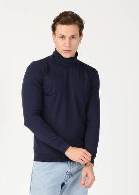 ADZE TOPTAN - Toptan Erkek Lacivert Balıkçı Yaka Basic Sweatshirt