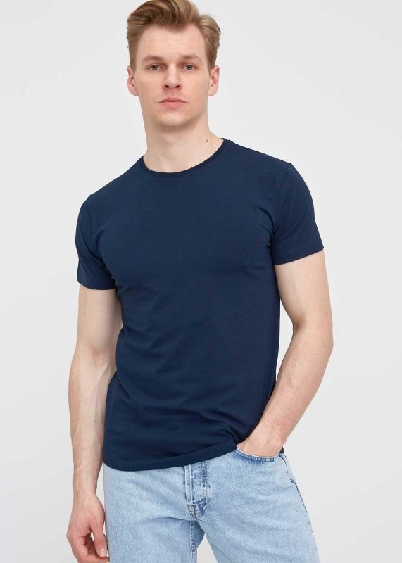 Toptan Erkek Lacivert Bisiklet Yaka Likralı T-shirt