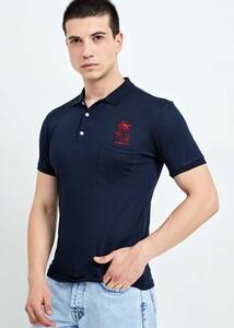 ADZE TOPTAN - Toptan Erkek Lacivert Cepli Polo Yaka T-shirt