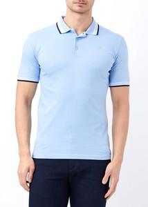 Toptan Erkek Mavi Likralı Düz Polo Yaka Tişört