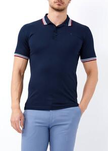 ADZE TOPTAN - Toptan Erkek Lacivert Likralı Düz Polo Yaka Tişört