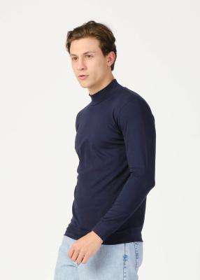 Toptan Erkek Lacivert Yarım Balıkçı Yaka Uzun Kol Sweatshirt