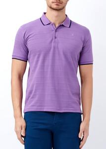 ADZE - Erkek Lila Çizgili Polo Yaka Tişört