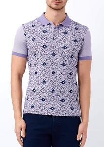 Toptan Erkek Mor Çiçek Desenli Polo Yaka Tişört