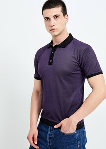 ADZE TOPTAN - Toptan Erkek Mor Düğmeli Polo Yaka T-shirt