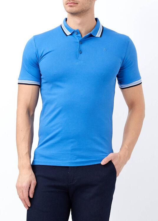 Toptan Erkek Saks Likralı Düz Polo Yaka Tişört