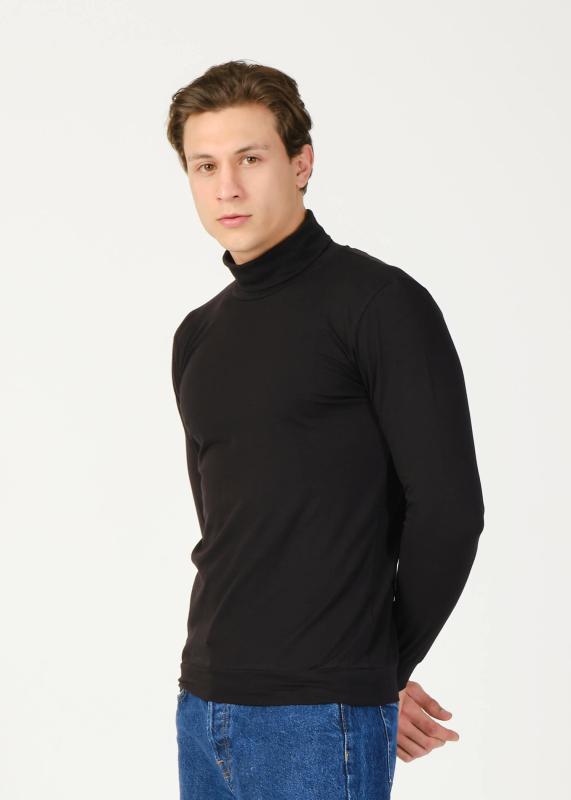 Toptan Erkek Siyah Balıkçı Yaka Basic Sweatshirt