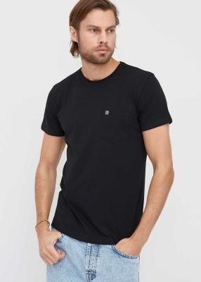 ADZE TOPTAN - Toptan Erkek Siyah Bisiklet Yaka Cepli Basic T-shirt
