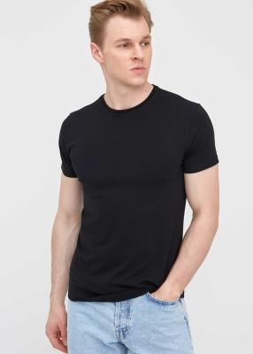ADZE TOPTAN - Toptan Erkek Siyah Bisiklet Yaka Likralı T-shirt