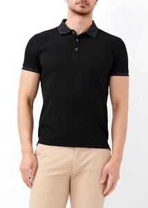 ADZE - Erkek Siyah Jakarlı Polo Yaka Tişört