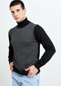 ADZE TOPTAN - Toptan Erkek Siyah Koyu Gri Boğazlı Desenli Kazak