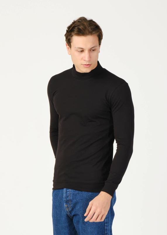Toptan Erkek Siyah Yarım Balıkçı Yaka Uzun Kol Sweatshirt