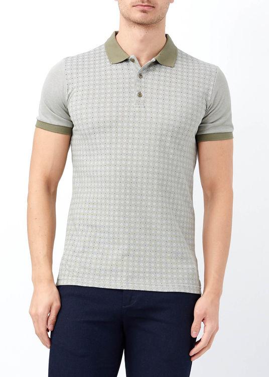 Erkek Haki Baskılı Polo Yaka T-shirt