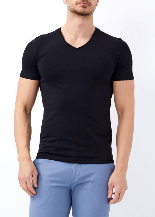 Erkek Siyah Slim Fit Likralı Basic Tişört