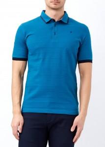 ADZE - Petrol Erkek Desenli Slim Fit Polo Yaka Tişört
