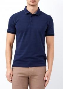 ADZE - Lacivert Erkek Desenli Slim Fit Polo Yaka Tişört