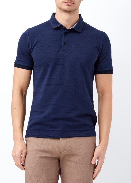 Lacivert Erkek Desenli Slim Fit Polo Yaka Tişört