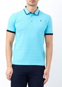 ADZE - Turkuaz Erkek Desenli Slim Fit Polo Yaka Tişört