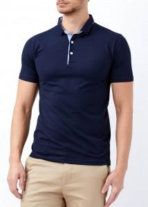 ADZE - Lacivert Erkek Patlı Basic Polo Yaka Tişört